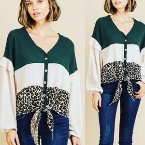 New ABIGAIL Forest Green Leopard Knit Tops